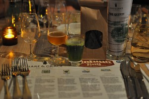 Image of Matilda Bay beer dinner menu and table setup