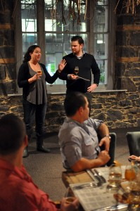 Image of Chloe and Andrew hosting the beer dinner