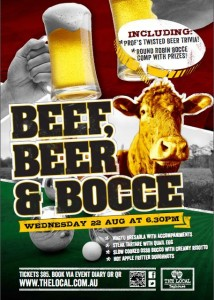 Poster image for Beef, Beer and Bocce event