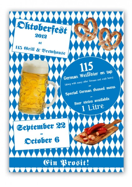 Poster image for Oktoberfest event at 115 Brewhouse in Kew