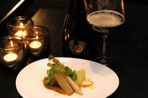 Photo of pork belly entree with Crown Ambassador Reserve Lager