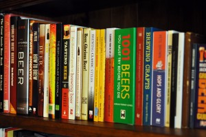 Photo of beer books along a shelf