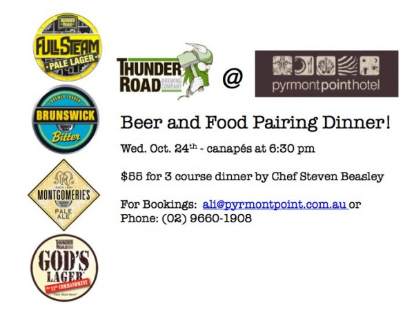 Poster image for Thunder Road beer dinner event