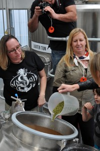 Photo of the hop addition during Women of Beer brew day