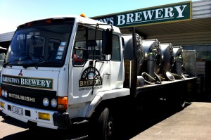 The Harrington's tray truck with tanks on the back for delivering draught beer