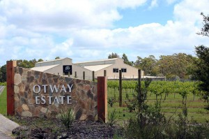 External photo of the gateway for Otway Estate with brewery sheds in the background