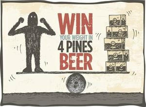 The 4 Pines graphic for their Win Your Weight in Beer competition