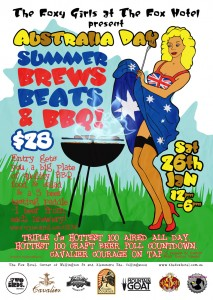 Poster for the Fox Hotel's Australia Day event of Summer Brews Beats and BBQ