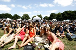 Crowd of young people sitting on the grass, enjoyed the entertainment at Ballarat Beer Festival