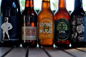 Bottles of B2 Bomber, Hightail Ale, Pacific Ale, Mornington IPA and Moon Dog Black Lung 2