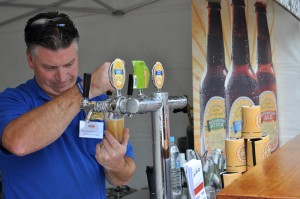Pouring beers at the Bellarine Brewery stall