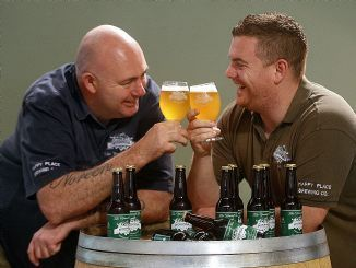 'Fun & Funner' alias Mick and Jamie are always willing to share a beer. (PIC from Heidelberg Leader)