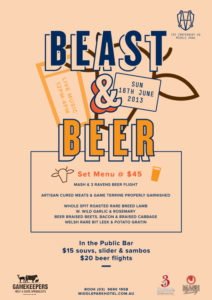 Poster for Beast and Beer event at Middle Park Hotel