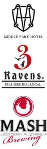Logos of Middle Park Hotel, 3 Ravens beer and Mash Brewing
