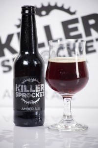 A bottle and glass of Killer Sprocket beer