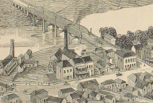 View of part of West Maitland showing the brewery (building with chimney in the centre between street and bridge) as it was when George Melville Milne first occupied it in the late 1870s