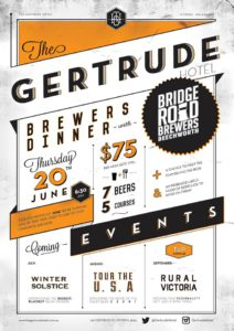Event poster for The Gertrude Hotel Brewers Dinner