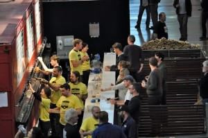 A view of a GABS bar with drinkers receiving their festival beers