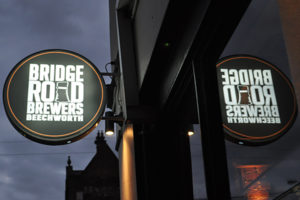Bridge Road Brewers light sign on the side of The Gertrude Hotel