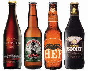 The beers used in the tasting