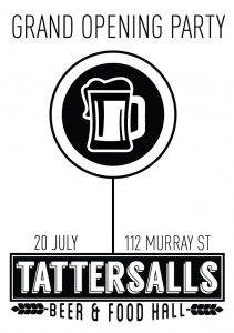 Event poster for Tattersall's Beer & Food Hall opening party