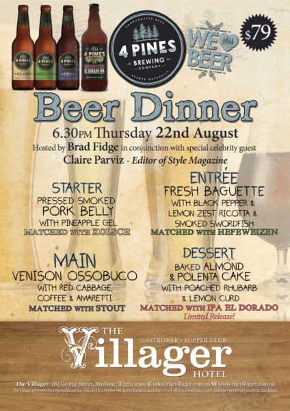 Flyer for 4 Pines Beer Dinner at The Villager, 22 August 2013