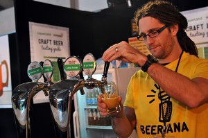 Pouring beers at the Beervana bar