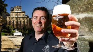 Head Brewer, Mike Unsworth raises a glass to Cascade's new look. (Pic Courier Mail)