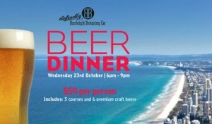 Event poster for Burleigh Brewing Beer Dinner at Sky Point