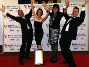: Bright Brewery Owners Scott Brandon and Fiona Reddaway, Business Manager Libby Katterl and Marketing Manager Will Rickwood celebrating at the 2013 RACV Victorian Tourism Awards