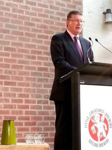 Victorian Premier Dennis Napthine opens the Geelong brewery