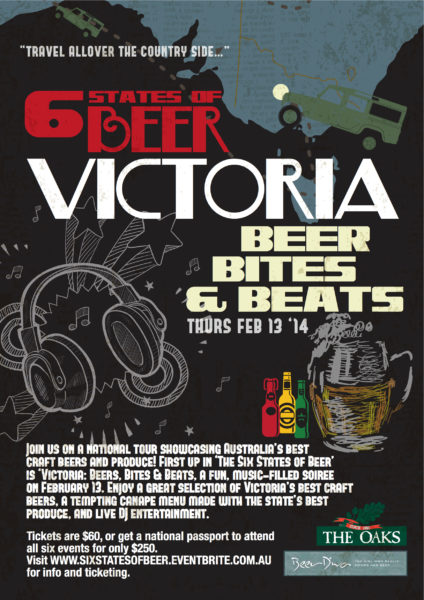 Event poster for The Oaks Hotel 6 States of Beer events