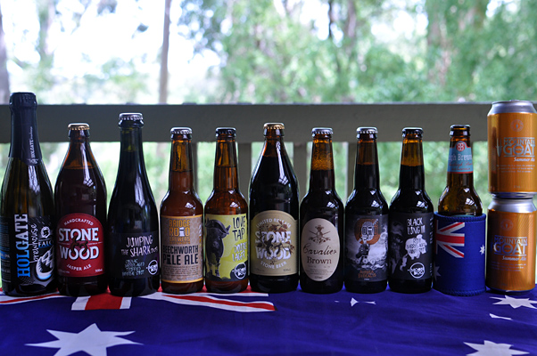 A line up of Australian craft beers on an Australian flag