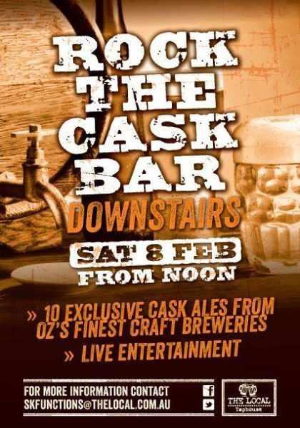 Event poster for Rock the Cask Bar