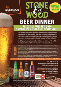 Event post for Stone & Wood beer dinner at Salt Bar on Jan 24