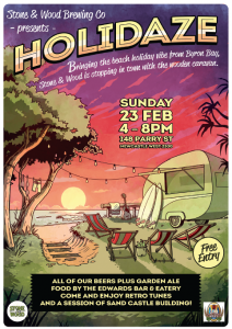 Event poster for Stone & Wood Holidaze in Newcastle