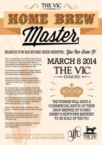 Event poster for Home Brew Masters at The Vic Enmore