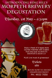 Morpeth Brewery Degustation event poster, at King Bill IV