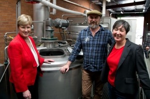 Senator Milne with Young Henry's head brewer Richard Adamson and Greens candidate Jenny Leong.