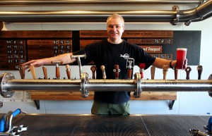 Richard Watkins with a full font of taps and a new beer.