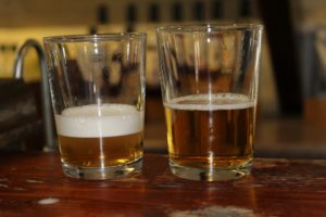 """The same beer 'sparkled' (or """"Northerned') (L) and the unsparkled, or 'Southerned' (R)"""