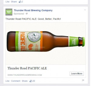 Thunder Road Brewing Company's current Facebook advertisement for its beer.