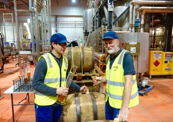 Blending in progress: Australian Beer Company technical brewer Greg Short and head brewer Andy Mitchell