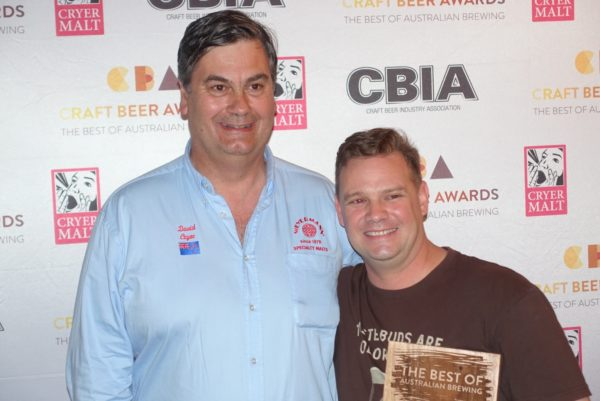 L-R: David Cryer of Cryer Malt with Feral Brewing's Brendan Varis