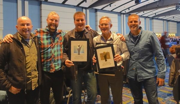 James Squire's Chuck Hahn and the Stone & Wood team show off their gongs