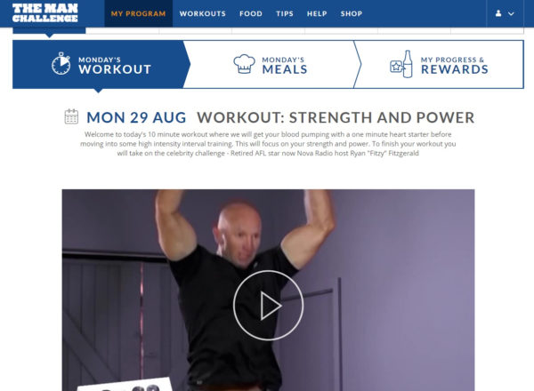 Adam McDougall demonstrates one of the program's ten minute workouts