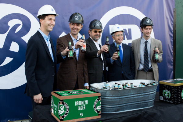 The press conference earlier this year announcing Brooklyn's new brewery. L-R: Brooklyn Navy Yard president and CEO David Ehrenberg, Brooklyn Brewery CEO Eric Ottaway, Brooklyn Brewery founder Steve Hindy, first deputy mayor Anthony Shorris and council member Stephen Levin