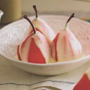 Paul Mercurio's framboise-poached pears with sabayon