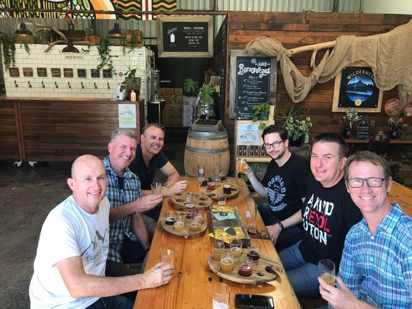 Brews News team at Stone and Wood's Byron Bay home.