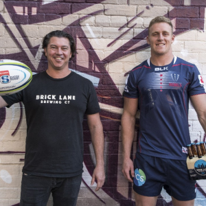Brick Lane co-founder Paul Bowker celebrates the new partnership with the Melbourne Rebels
